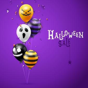 Halloween-verkoop vectorachtergrond met spookballons en lintendecoratie. griezelige enge gezichten op ballonnen. decoratie-element voor halloween-feest