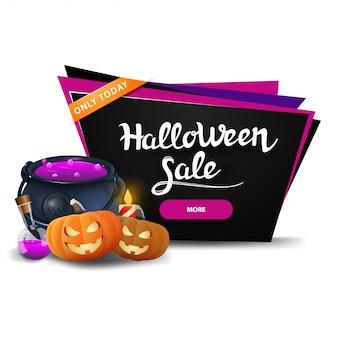 Halloween-verkoop, zwarte kortingsbanner met de pot van de heks en pompoen jack
