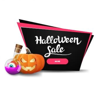 Halloween-verkoop, zwarte kortingsbanner met pompoen jack en het drankje van de heks