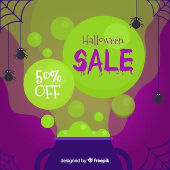 Halloween-verkoopachtergrond in vlakke stijl