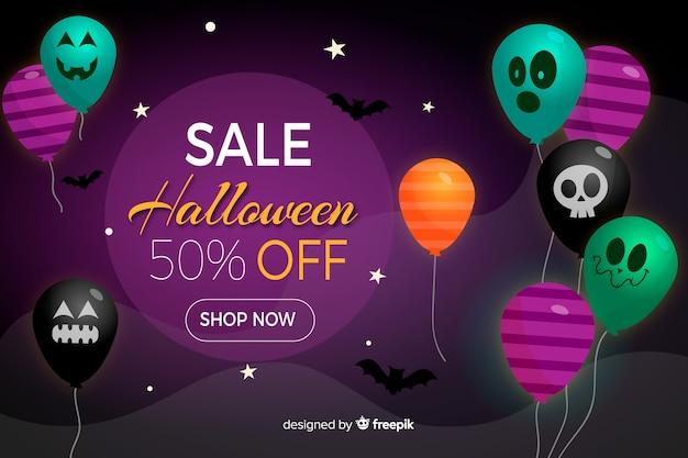 Halloween-verkoopachtergrond met ballons in vlak ontwerp