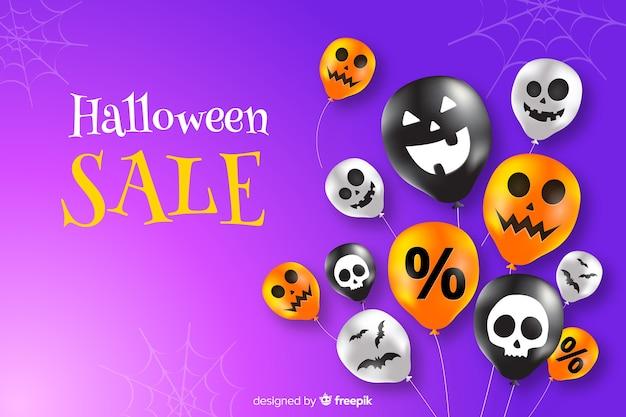 Halloween-verkoopachtergrond met ballons