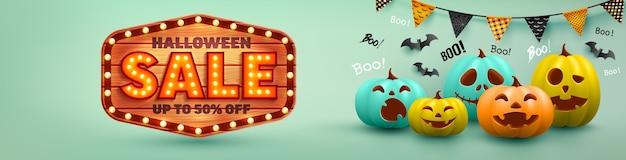 Halloween-verkoopaffiche en bannermalplaatje met kleurrijke halloween-pompoen en vleermuis. website griezelig, vectorillustratie eps10