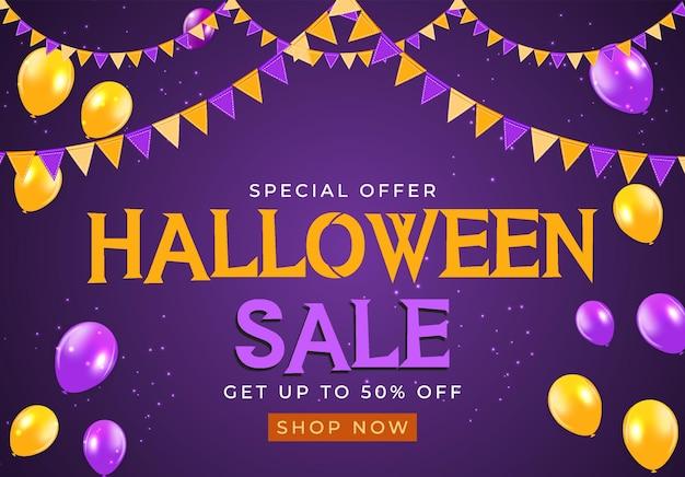 Halloween-verkoopaffiche met vlaggen en slinger op blauwe achtergrond. vectorillustratie