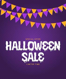 Halloween-verkoopaffiche met vlaggen en slinger op purpere achtergrond. vectorillustratie. eps10