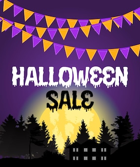 Halloween-verkoopaffiche met vlaggen en slinger op purpere achtergrond. vectorillustratie eps10