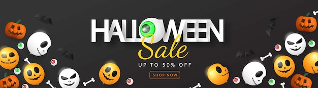 Halloween-verkoopbanner 3d met ballon, oog, pompoen en been
