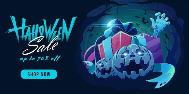 Halloween-verkoopbanner met belettering van ontwerp en pumkpin