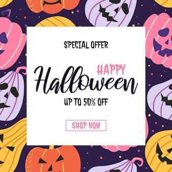 Halloween-verkoopbanner met pompoenpatroon