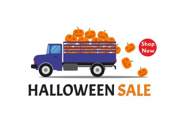 Halloween-verkoopbanner met vrachtwagen draagt glimlachpompoen