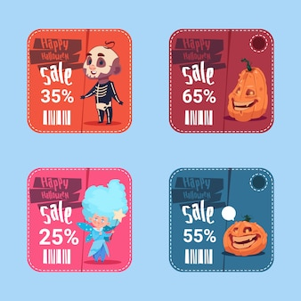 Halloween-verkoopbanners geplaatst het seizoengebonden concept van de kortingsinzameling