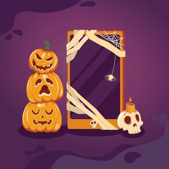 Halloween-verkoopbevordering poster met pompoenen en telefoon op paarse achtergrond.