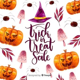 Halloween-verkoopconcept in waterverf