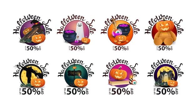 Halloween-verkoopkorting om banners met geïsoleerde halloween-elementen