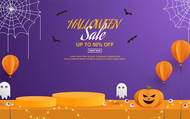 Halloween-verkooppromotie met podiumpapier gesneden stijl