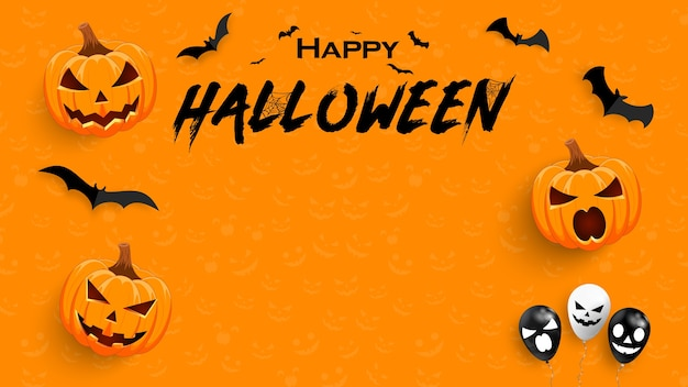 Halloween-verkooppromotieposter met pompoen en vleermuis. achtergrond of banner halloween-sjabloon.