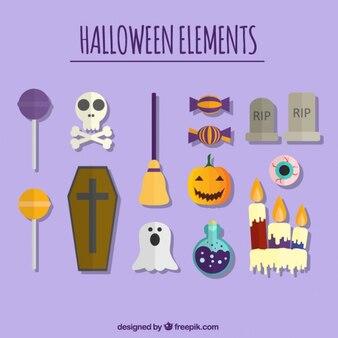 Halloween verzameling van elementen in plat design
