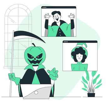 Halloween videogesprek concept illustratie