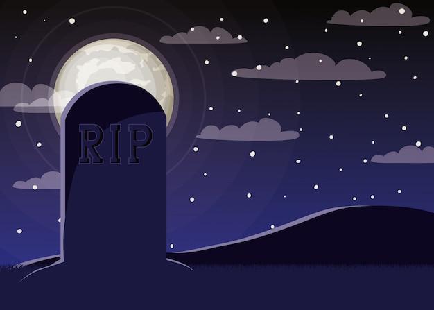 Halloween-viering met begraafplaats en ernstige scène