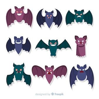 Halloween vleermuizen collectie op platte ontwerp