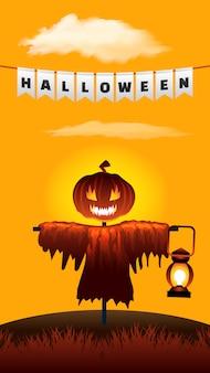 Halloween vogelverschrikker. pompoen hoofdlantaarn