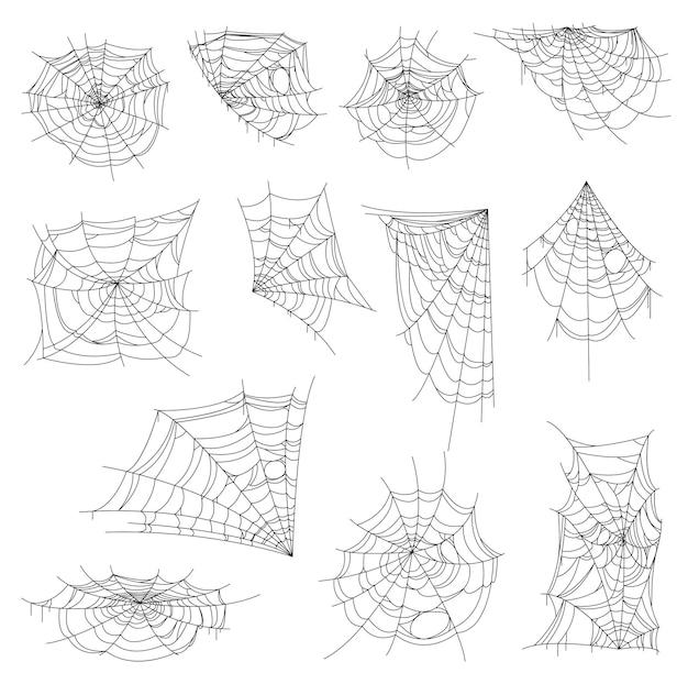 Halloween web, spinnenweb en spinnenweb set. geïsoleerde vectorspinnennetten, ronde, hoek- en halve vormwebben. spookachtige, enge ontwerpelementen voor de decoratie van wenskaarten, insecten vangen zwart-wit decor