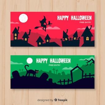 Halloween webbanner collectie met platte ontwerp