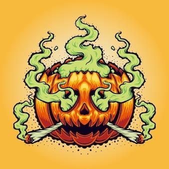 Halloween weed smoke cartoon vector illustraties voor uw werk logo, mascotte merchandise t-shirt, stickers en labelontwerpen, poster, wenskaarten reclame bedrijf of merken.