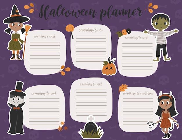Halloween wekelijkse planner paginasjabloon. takenlijst met schattige kinderen in kostuums in cartoonstijl