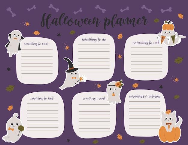 Halloween wekelijkse planner paginasjabloon. takenlijst met schattige pompoenen, geesten in cartoonstijl