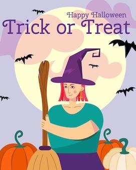 Halloween wenskaart heks maan happy halloween inscriptie trick or treat met schattige heks