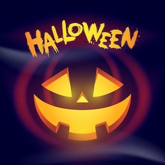 Halloween-wenskaart met gesneden pompoen