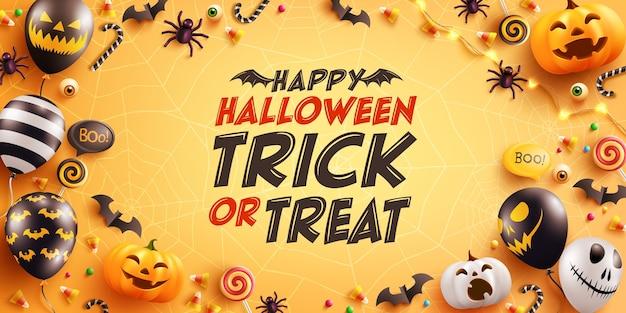Halloween-wenskaart met schattige halloween-pompoen, vleermuis, spin en snoep