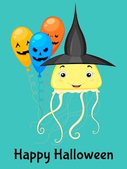 Halloween wenskaart met schattige kwallen. cartoon-stijl. vector illustratie.