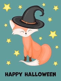 Halloween wenskaart met schattige vos. cartoon-stijl. vector illustratie.