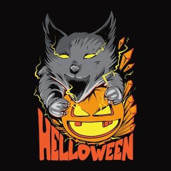 Halloween-wolf en pompoenillustratie voor t-shirtontwerp en bedrukking
