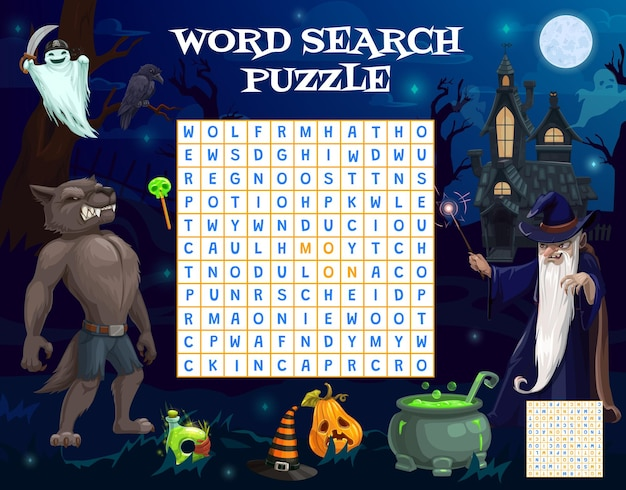 Halloween woord zoekspel werkblad met tovenaar, weerwolf, geest en snoep, vector. raadselpuzzel voor kinderen om woord te vinden met halloween-stripfiguren, pompoenlantaarn, toverketel en schedel