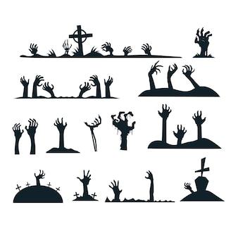 Halloween zombie handen silhouet collectie