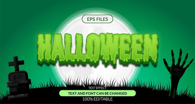Halloween zombie spookachtig bewerkbaar teksteffect. eps-vectorbestand. poster banner landschap horror nacht