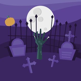 Halloween-zombiehand bij begraafplaatsontwerp, eng thema
