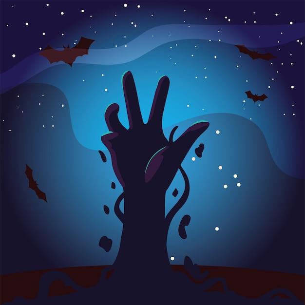 Halloween-zombiehand bij nachtontwerp, vakantie en enge themaillustratie