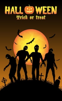 Halloween-zombies op een kerkhof