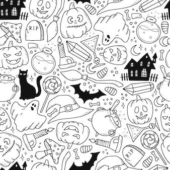 Halloween zwart-wit naadloos patroon met doodles