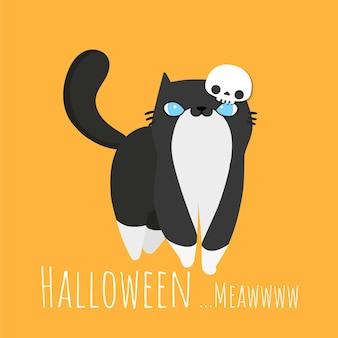 Halloween zwarte kat draagt gekostumeerd schedelmasker.