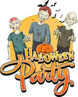 Halloweenfeest met griezelige zombies