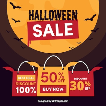 Hallowen verkoop achtergrond met maan ontwerp