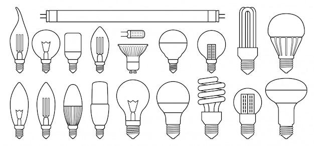 Halogeenlamp in lijnstijl ingesteld pictogram.