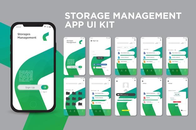 Halve cirkel geometrische opslagbeheer-app ui kit-sjabloonontwerp
