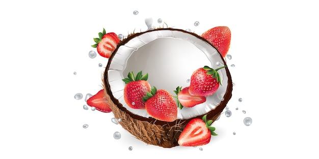 Halve kokos en aardbeien in melk spatten op een witte achtergrond.