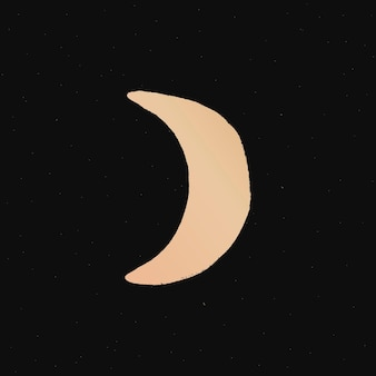 Halve maan doodle illustratie sticker